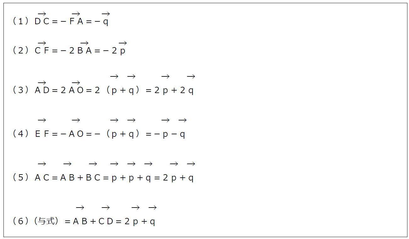 正六角形とベクトルの分解(答え)