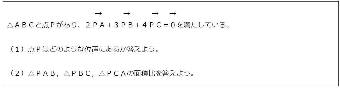 ベクトルの等式と三角形の面積比(問題)