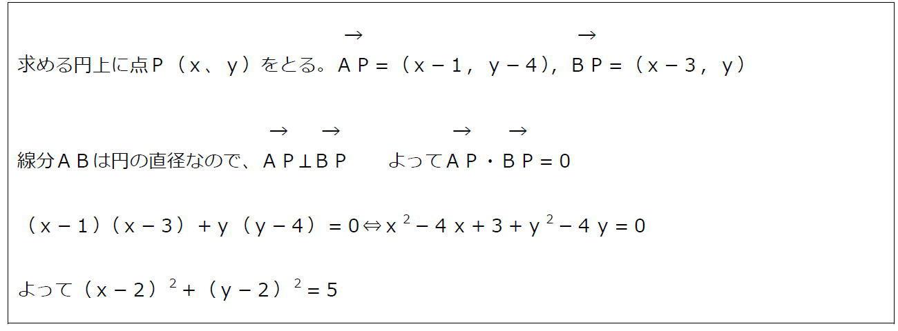 円のベクトル方程式その2【数B】(答え)