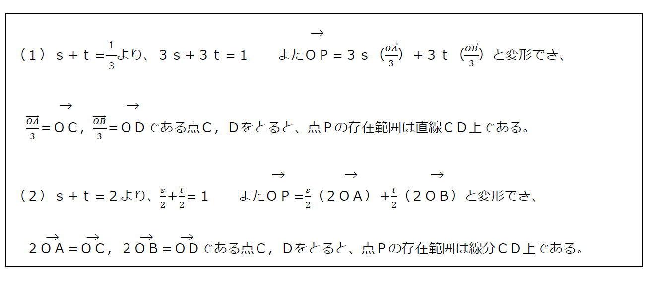 ベクトルの終点の存在範囲その1(答え)