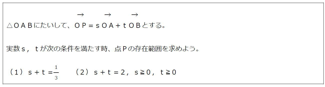 ベクトルの終点の存在範囲その1(問題)