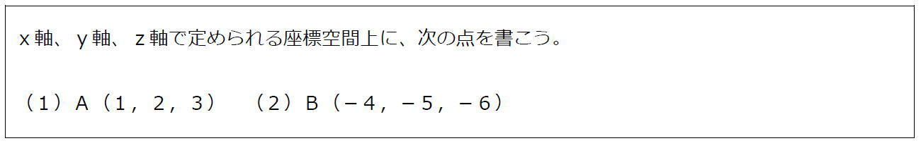 空間上の点の書き方(問題)